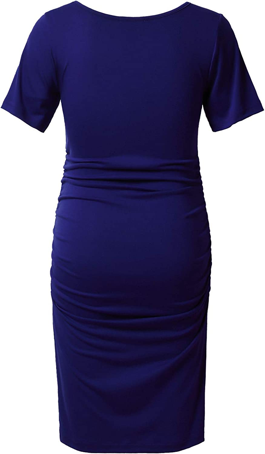 GINKANA Maternity Bodycon Dress Short Sleeve Ruched Sides Casual Pregnancy Clothes