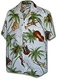 Pacific Legend Men's Jazz Festival Instrument Hawaiian Cotton Shirt,White , XX-Large