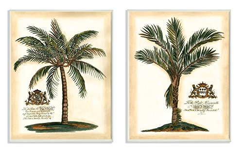 Stupell Home Décor British Colonial Palms 2pc Wall Plaque Art Set, 10 x 0.5 x 15, Proudly Made in USA