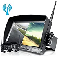 "Podofo Updated Digital Wireless Backup Camera, 7"" LCD Wireless Reversing Split Monitor + IP68 Waterproof No Interference Super Night Vision 2 X Rear View Cameras for Bus/Truck/Trailer/RV/Boat"