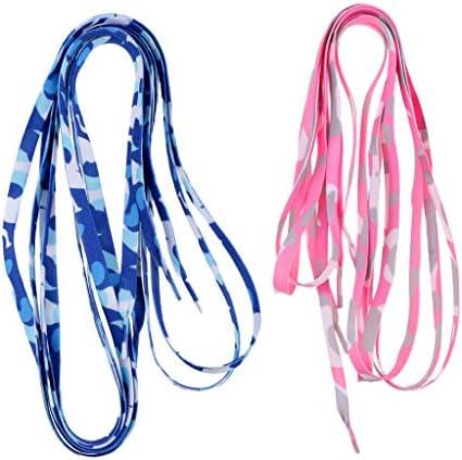 靴ひも 180cm ローラースケートブーツ 2ペア ニット 靴紐 ホッケースケート 迷彩ブルーとピンク