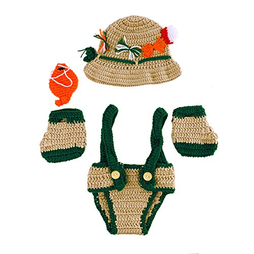 Chinatera Infant Newborn Girl Boy Fishing Photo Prop Handmade Crochet Knitted Fisherman Outfits Clothes Set Fish Hat + Fish+Shoes+ Diaper (0-2M)