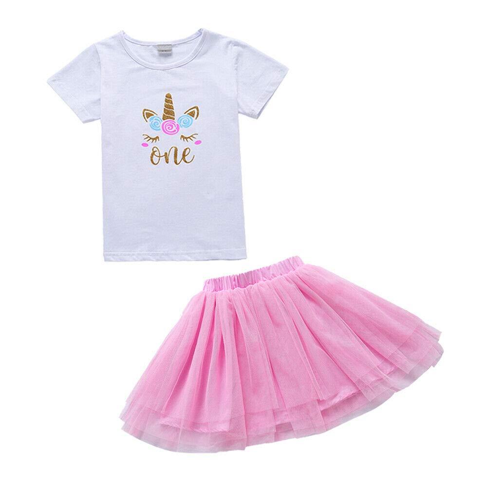 T Shirt elebaby 3pcs Baby Girl 1st //2nd Birthday Outfit Unicorn Cake Smash Outfits Headband Rainbow Pink Tulle Tutu Skirt
