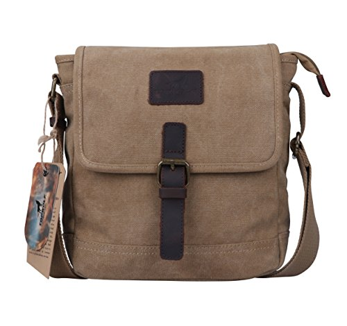 Canvas Crossbody Bag TOPWOLF Small Messenger Casual Travel Working Tools Bag Shoulder Bag Easily Hold Phone Handset Key Sunglasses Khaki by TOPWOLF NEW YORK