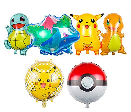 TA BEST Cartoon Pikachu Friends Foil Balloons - Birthday Party Balloons Party Supplies, 6-Pack -