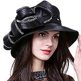 HISSHE Sweet Cute Cloche Oaks Church Dress Bowler Derby Wedding Hat Party S606-A, Rhinestone-black, Medium