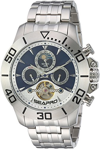Seapro Men's 'Montecillo' Automatic Stainless Steel Casual Watch, Color:Silver-Toned (Model: SP5136)