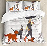 Ambesonne Dog Duvet Cover Set King Size, Young Modern Girl Taking Pack of Dog for a Walk in the Rain Fun Joyful Times Artsy Print, Decorative 3 Piece Bedding Set with 2 Pillow Shams, Multi
