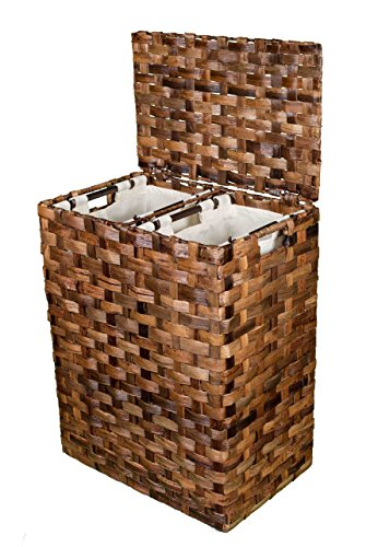 BirdRock Home Abaca Divided Flat Weave Laundry Hamper (Espresso) | Hand Woven | Machine Washable Cotton Canvas Liners (Wicker Divided Storage Basket)