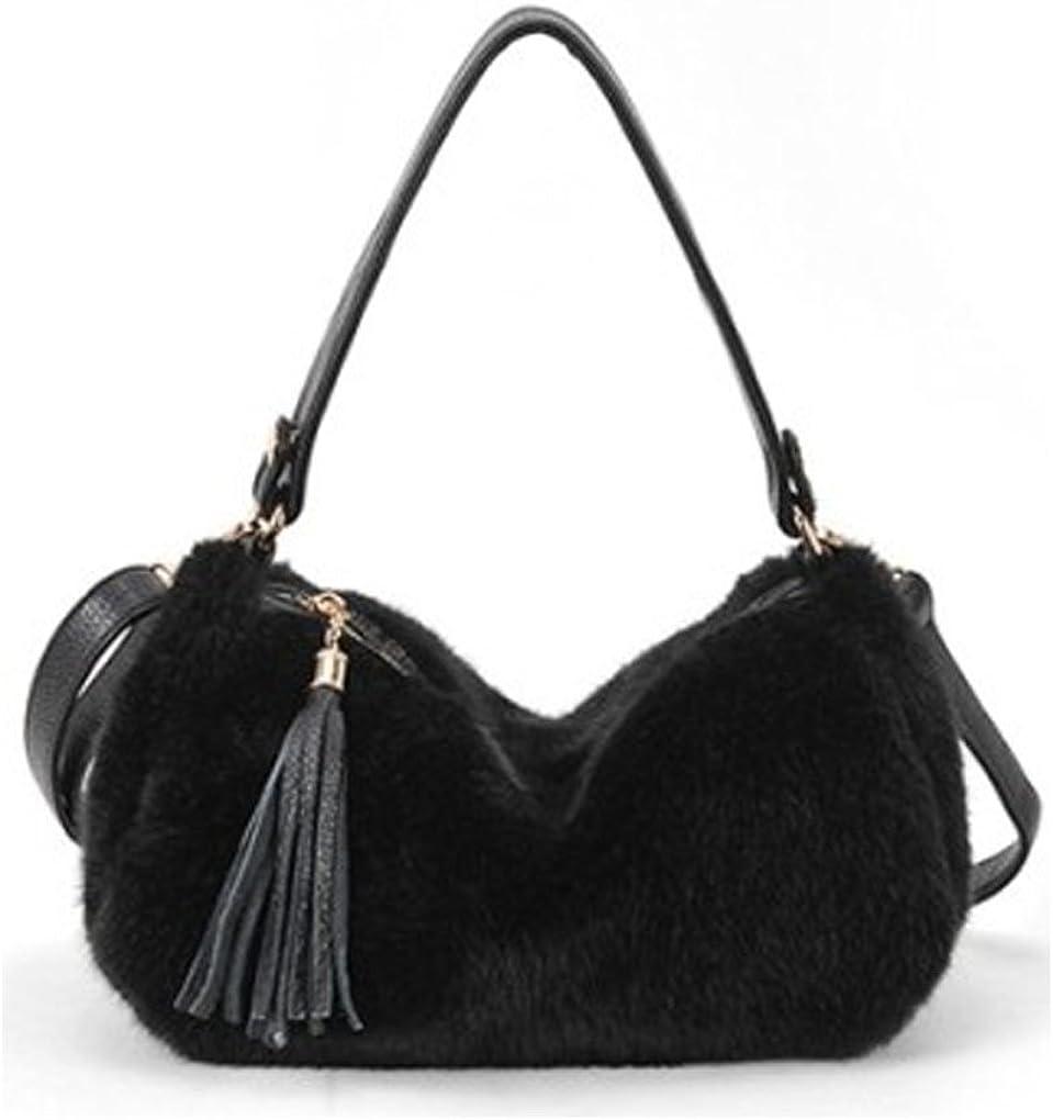 Caszel Womens Pure Color Faux Rabbit Fur Top Handle Shoulder Bag Handbag Clutch