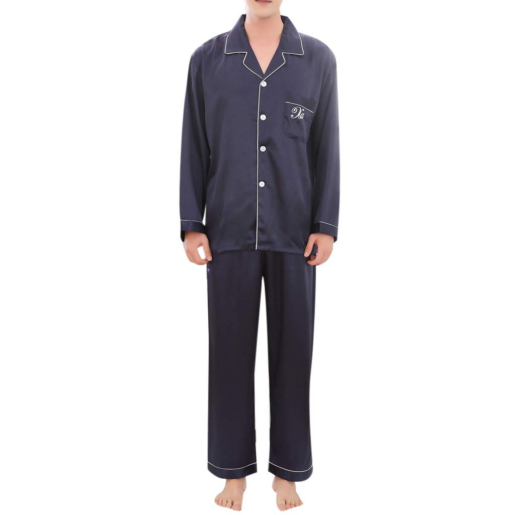 GREFER Men's Pyjamas Set Casual Spring Long-Sleeved Comfortable Home Sleepwear Nightwear Pure Color Blue