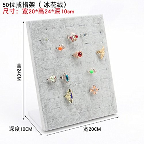 high-Grade Velvet Jewelry Holder Necklace Pendant Jewelry Counter Display Props Vertical Plate Earrings earings Dangler Eardrop Earrings Hanging Storage Shelves (Ring Carrier 50 Gray ice