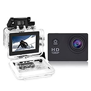 Yuntab Action Camera Sport DV 1080P Mini 30-Meter Waterproof 2 inch TFT LCD HD 5MP Helmet Camera Cam Extreme Action Camcorder With Battery, Charger and Accessories (Black)
