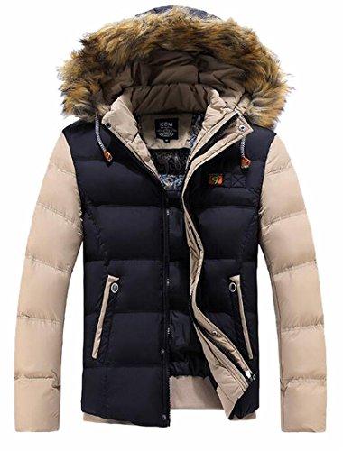 Hot Sale-UK Men's Winter Warm Faux Fur Hooded Qulited Cotton Down Jacket Coat 2