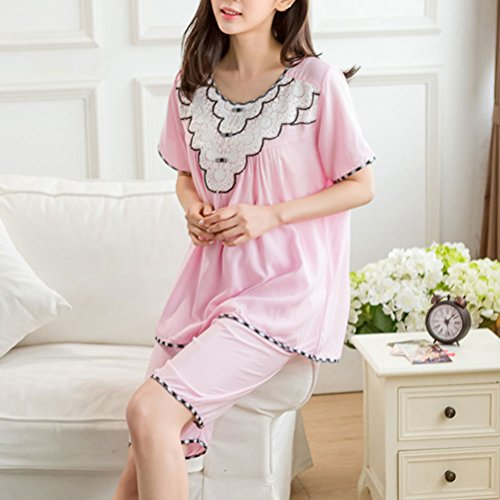 Zhhlaixing Women's Cotton Sleepwear Short Sleeves Pyjama Set Nightwear Pink
