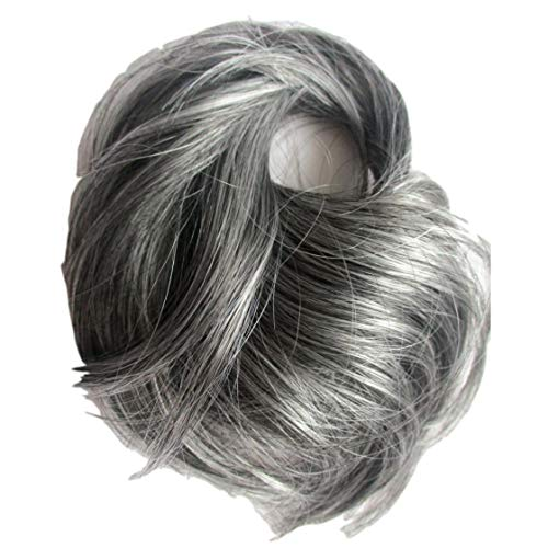 (New Style Scrunchie Fuller Hair Extension Salt Pepper Grey Mix Synthetic)