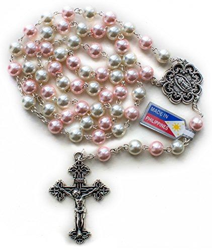 Big A Solutions Rosary Beads Catholic - Rosario - Handmade - Blue Rosary - Purple Rosary - Pink Rosary - Imitation pearl - FREE velvet pouch - Catholic gift idea ()