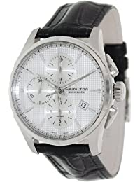 Hamilton Men's Jazzmaster H32596751 Black Leather Swiss Automatic Watch with Silver Dial