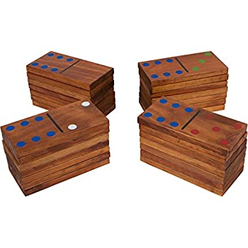 """7"""" 28-Piece Giant Wood Dominoes Set by Trademark Innovations"""
