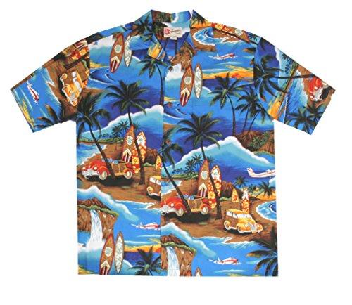 Hilo Hattie Waikiki Woody Blue Aloha Shirt Size - Stores Clothing Waikiki