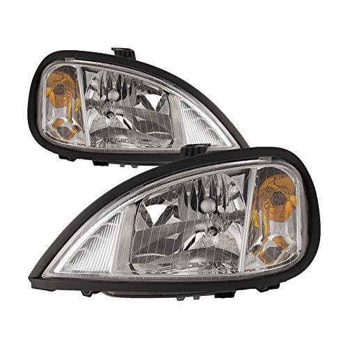 HEADLIGHTSDEPOT Compatible with Freightliner Columbia Halogen Chrome Headlights Set