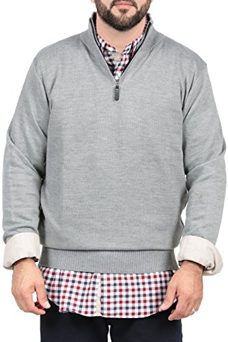 Ingear Half Zip Sweater Casual Soft Long Sleeve Knit Pullover Cardigan Striped (XX-Large, Grey) (Cable Half Zip Sweater)