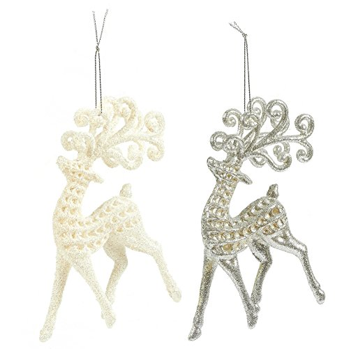 Juvale 2-Pack of Christmas Tree Decorations - Silver & White Reindeer Christmas Miniatures, Christmas Ornaments, Festive Embellishments - 3.7 x 7.7 x 1 Inches