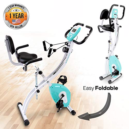 SereneLife Indoor Folding Stationary Exercise Bike – Foldable Stationary Bike Cycling Cardio Workout Equipment – Compact Home Bicycle Fitness Machine w/ 8 Resistance Level, Pulse Monitoring SLXB18