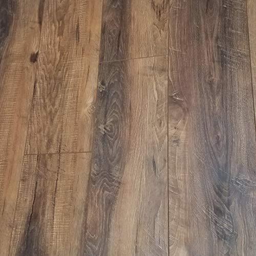 Milltown Rustic Sawmilled Oak Plank Floating Laminate Flooring 12mm (Sample) (Oak Honey Hardwood Flooring)