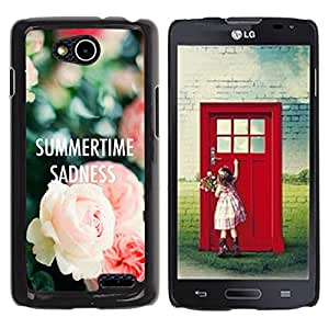 YOYOYO Smartphone Protección Defender Duro Negro Funda Imagen Diseño Carcasa Tapa Case Skin Cover Para LG OPTIMUS L90 D415 - rosas tristeza texto verano profunda