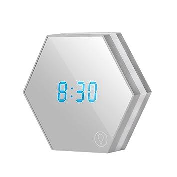 ZREAL Reloj Despertador portátil Reloj Despertador Digital Recargable Reloj Despertador LED Lámpara de Mesa: Amazon.es: Hogar