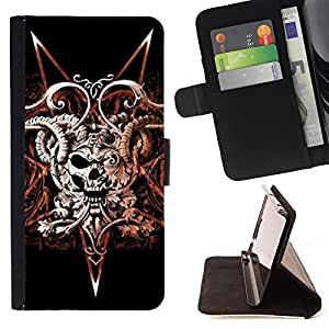 Jordan Colourful Shop - devil rock metal horns skull black For Apple Iphone 4 / 4S - < Leather Case Absorci????n cubierta de la caja de alto impacto > -