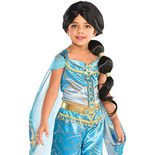 Party City Aladdin Jasmine Ponytail Wig for Children, One Size, Features Rhinestone-Studded Gold Charms in her -
