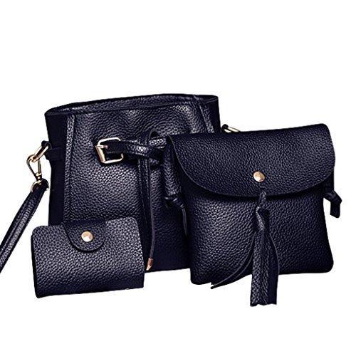 Rakkiss Women Four Set Handbag Shoulder Bag Fashion Tote Bag Crossbody Wallet Leather Satchel Backpack(Four Pieces) (One_Size, Black) by Rakkiss_Clearance Bag (Image #9)