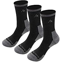 Mens Merino Hiking Wool Sock, Gmoka 3 Pairs Thermal Hunting Sport Socks Women