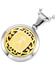 MeMeDIY Gold Silver Stainless Steel Pendant Necklace Horoscope Zodiac ,come with Chain - Customized Engraving