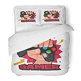 SanChic Duvet Cover Set Joystick Fist Hand Gamer Joy Stick Typographic Design Game Lover Video Decorative Bedding Set Pillow Sham Twin Size