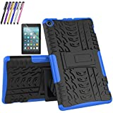 Mignova case for The New Amazon Fire HD 8 Tablet (7th and 8th Generation, Released 2017/2018) - Hybrid case [Slip] [Built-in Bracket] + Screen Protector and Stylus(Blue)