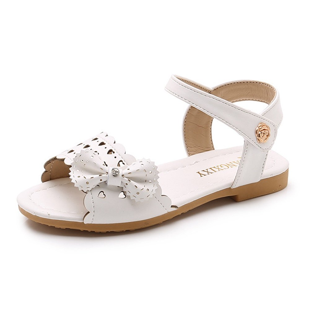 F-OXMY Girls Cute Bow Dress Sandals Summer Breathable Hollow-Out Open-Toe Sandals (Toddler/Little Kid) White