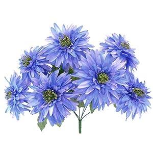 """Mum Bush Artificial Silk Flowers 20"""" Bouquet 7-6406 Blue Lavender Tip 90"""