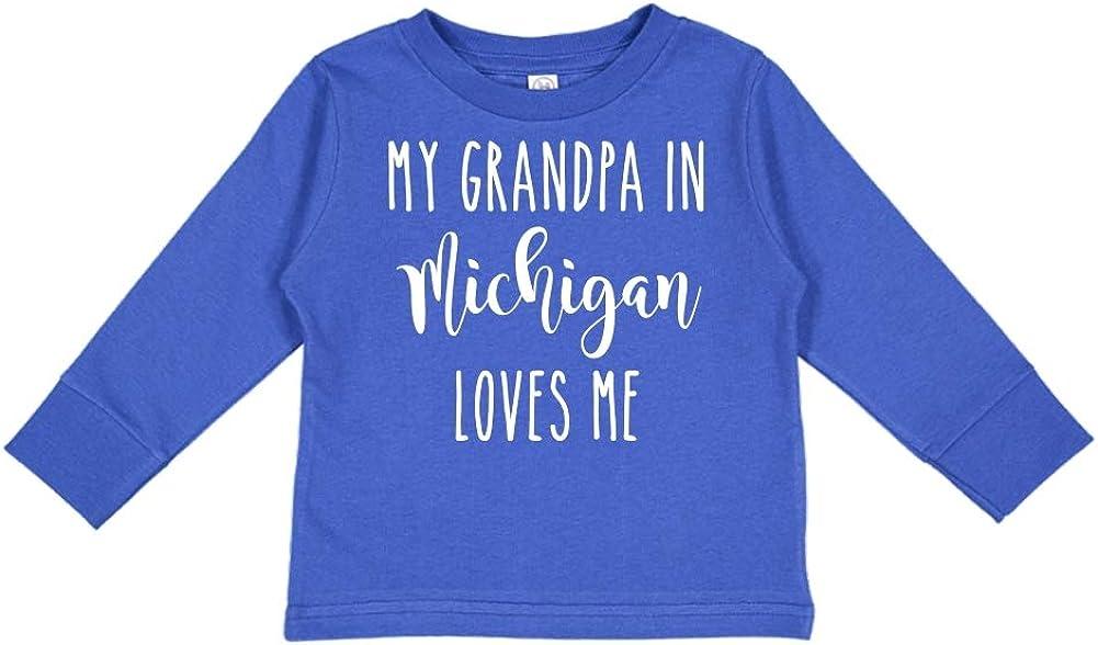 My Grandpa in Michigan Loves Me Toddler//Kids Long Sleeve T-Shirt