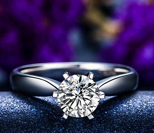Gowe siècle classique Naturel véritable 1.0CT sertie de diamants BuyFineDiamonds F-G/SI coupe ronde Bague de fiançailles Femme Or blanc 18K (Au750)