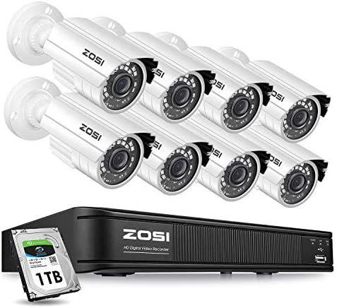 ZOSI H.265 1080p Home Security Camera System Outdoor Indoor, 1080N Security DVR 8 Channel with Hard Drive 1TB and 8 x 1080p Surveillance Bullet Camera, Remote Access, Motion Detection