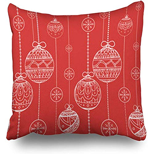 - Throw Pillow Covers Ornamental Doodle Balls Garlands Decorated Christmas Couch Square 18 x 18 Inches Cushion Cases Pillowcases