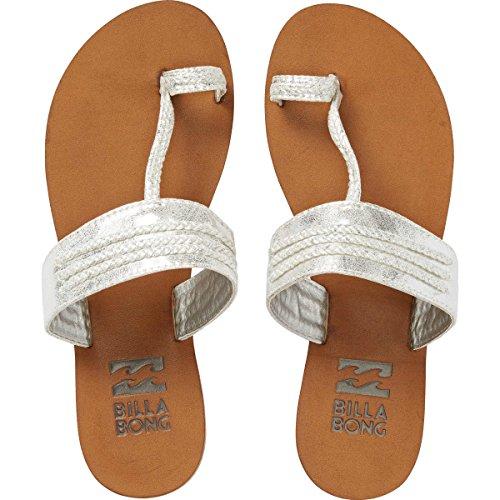 Billabong Women's Secret Treasurz Toe Ring Sandal, Silver, 9 M (Toe Ring Flat Sandals)