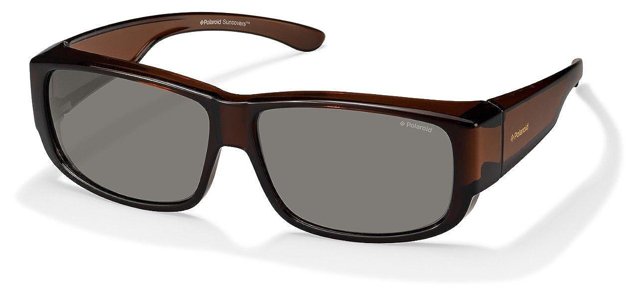 OD green polarized lens Polaroid Core Plastic Rectangular Sunglasses 62 009Q B Brown