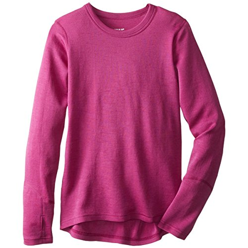 Minus33 Merino Wool Clothing Girls Lilly Midweight Wool Crew Top, Radiant Violet, Large