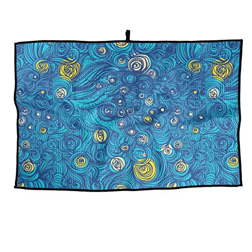 HZamora Starry Swirling Blue and Yellow Design Microfiber Golf Towel Sport Towel for Workout Gym Fitness Yoga Camping Hiking Bowling Travel Outdoor ()
