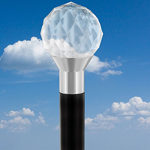 Lucite Walking Ball - Clear Lucite Crystal Ball Walking Cane w/Black Beechwood Shaft