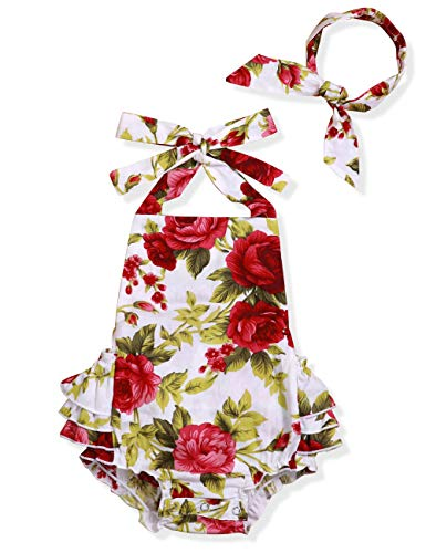 Infant Baby Girl Clothes Cute Floral Print Ruffles Romper Summer Clothes + Headband (Red, 0-3 Months)]()